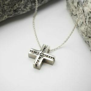18ct White Gold Black Diamond Cross Necklace