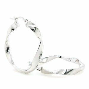 18ct white gold twist hoop earrings