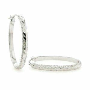 18ct white gold oval hoop earrings
