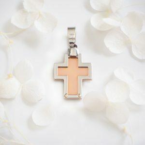 18ct Rose & White Gold Square Cross Pendant