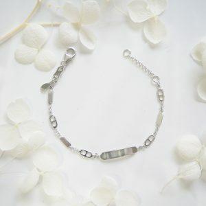 18ct white gold baby ID fancy bracelet