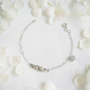 18ct white gold heart & ID baby bracelet