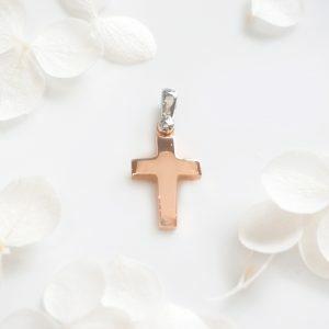 18ct rose & white gold plain cross
