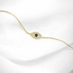 18ct yellow gold sapphire and diamond evil eye bracelet