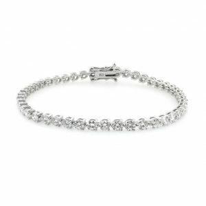 18ct white gold three claw diamond tennis bracelet