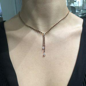 18ct rose gold black diamond drop necklace with pear shape diamonds