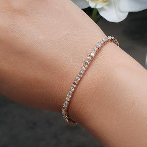 18ct rose gold baguette & round diamond tennis bracelet