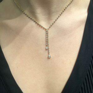18ct yellow gold pear shape diamond drop tennis necklace