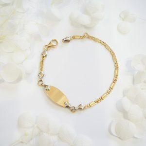 18ct Two Tone Oval ID Baby Bracelet