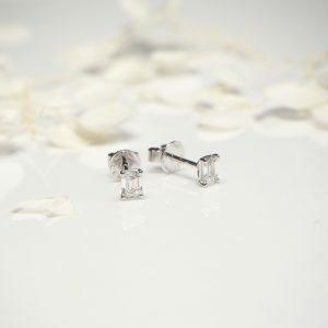 18ct white gold Emerald cut diamond stud earrings