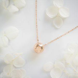 18ct rose gold 9mm ball slider necklace