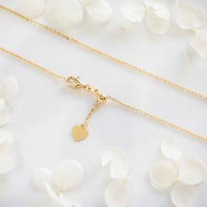 18ct yellow gold 50cm adjustable diamond cut chain