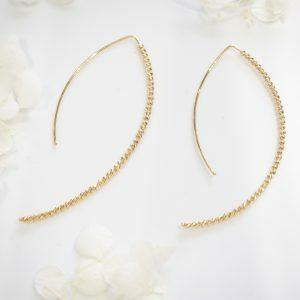 18ct yellow gold diamond cut ball drop earrings