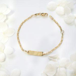 18ct yellow gold baby ID bracelet