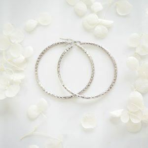 18ct white gold diamond cut hoop earrings