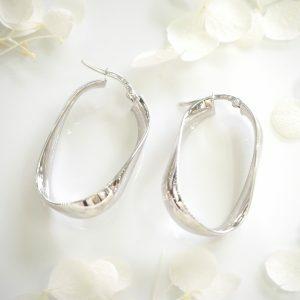 18ct white gold large flat hoop earrings