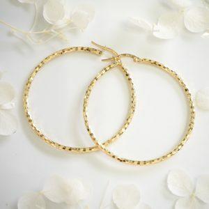 18ct yellow gold diamond cut hoop earrings