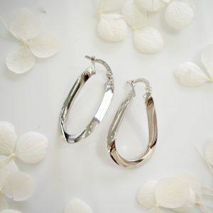 18ct white gold medium flat hoop earrings