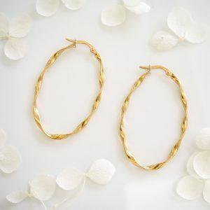 18ct yellow gold oval twist hoop earrings