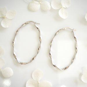 18ct white gold oval twist hoop earrings