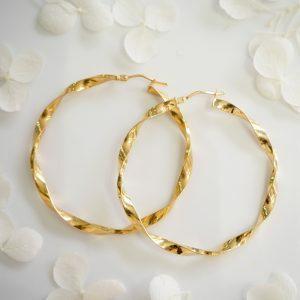 18ct yellow gold twist hoop earrings