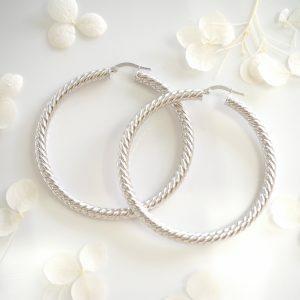 18ct white gold plaid hoop earrings