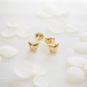 18ct yellow gold butterfly stud earrings