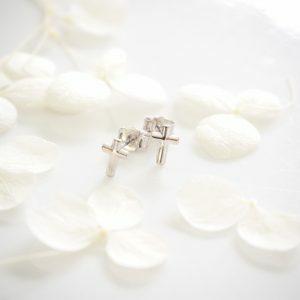 18ct white gold cross stud earrings