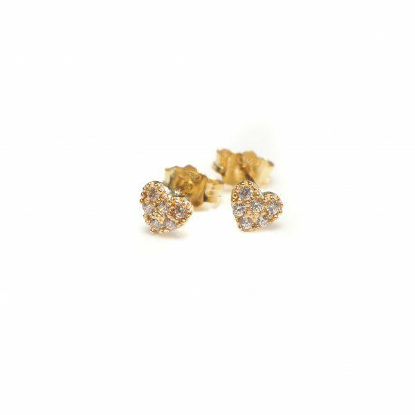 18ct yellow gold heart stud earrings