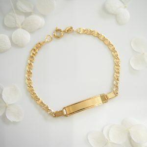 18ct yellow gold ID mariner link bracelet