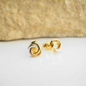 18ct three tone knot twist earrings