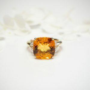 18ct yellow gold 6.42ct cushion cut citrine and diamond ring