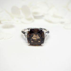 Platinum 6.57ct cushion cut smoky quartz and diamond ring