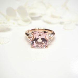 18ct rose gold 5.48ct cushion cut morganite & diamond ring