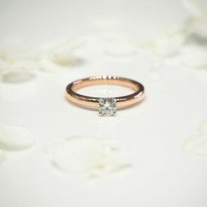 18ct rose gold and platinum 0.28ct round diamond solitaire ring