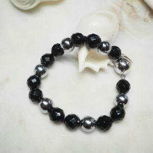 Onyx and silver plated hemitite beads bracelet