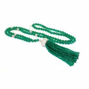 Green agate tassel necklace