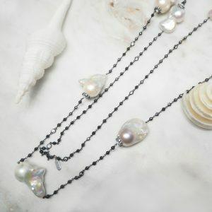 Baroque fresh water pearl hemitite beads & black rhodium silver necklace