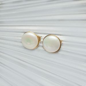 18ct Yellow Gold Freshwater Pearl Button Earrings