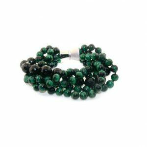 Green tiger eye and onyx beads bracelet