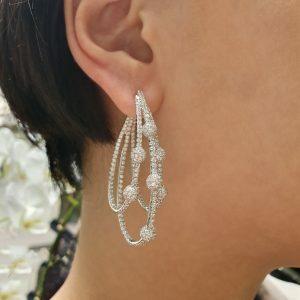 18ct white gold diamond pave set fancy earrings