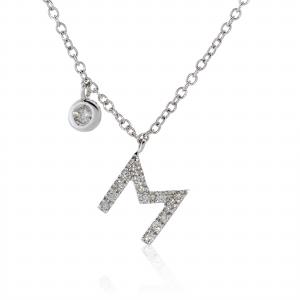 "18ct white gold diamond initial ""M"" necklace with bezel set diamond"