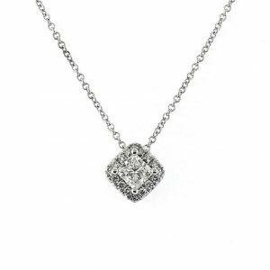 18ct white gold 0.54ct princess cut diamond necklace