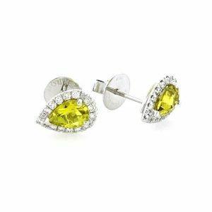 18ct white gold pear canary yellow Zambian tourmaline & diamond stud earrings