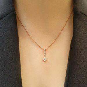 18ct rose gold diamond drop pendant