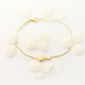 18ct yellow gold diamond heart bracelet
