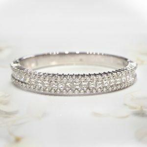 18ct white gold princess and round diamond bangle