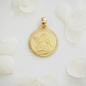 18ct Yellow Gold thinking round angel pendant