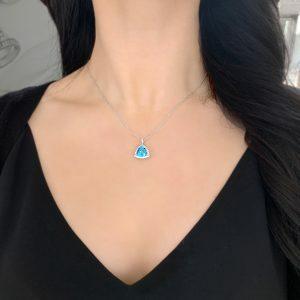18ct white gold 3.46ct trillion blue topaz and diamond necklace