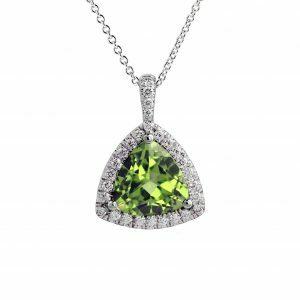 18ct white gold 4.53ct trillion cut peridot and diamond necklace